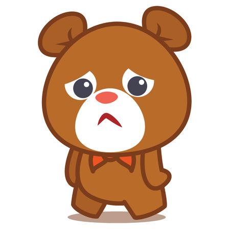 huggable: Sad bear character vector illustration