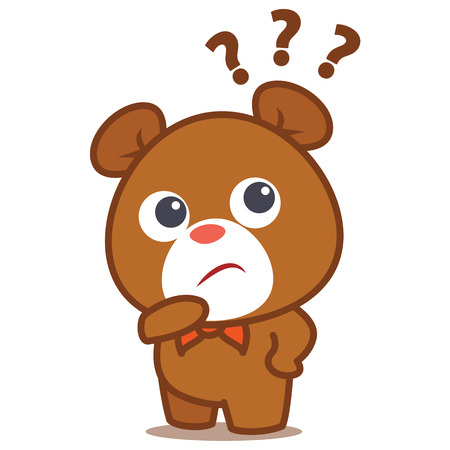 Bear thinking character style cartoon Stock Illustratie