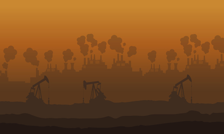 Many industry and many issue pollution vector illustration