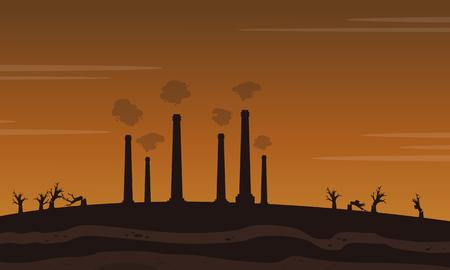 waster: Factory waster bad environment landscape vector illusration