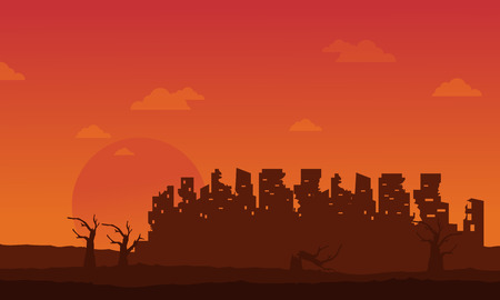 Bad environment with broken city landscape vector illustration Illustration