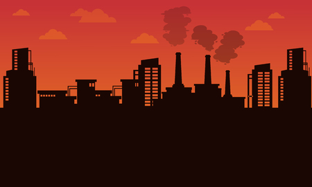 Silhouette of industry landscape bad environment illustration