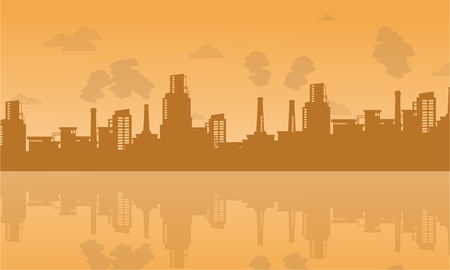Bad environment with industry on city vector illustration