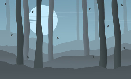 evaporation: Silhouette of forest at night landscape