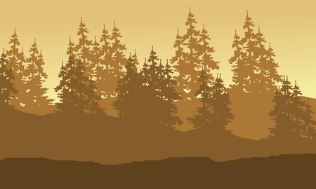 Forest spruce scenery silhouette collection