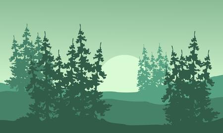evaporation: Spruce silhouette on the hill landscape Illustration