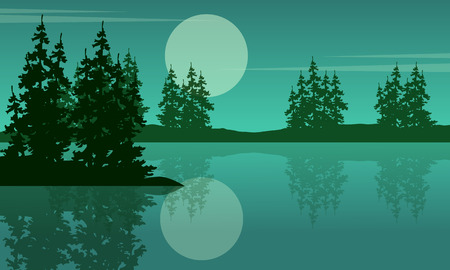 evaporation: Beauty scenery lake with spruce silhouettes Illustration