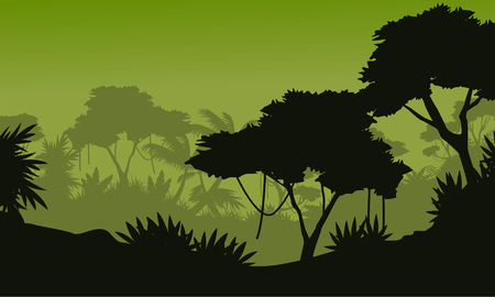 Green background forest scenery with tree silhouette