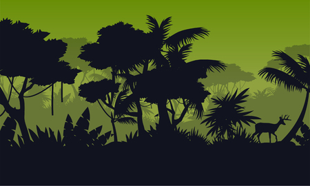 evaporation: Silhouette of rain forest with deer scenery Illustration