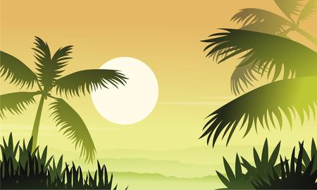 Silhouette of jungle at sunrise scenery.