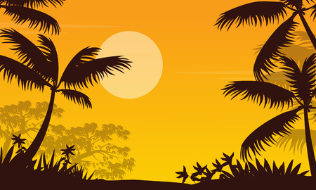 At sunset jungle landscape with palm silhouette. Illustration