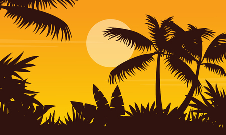 Palm scenery at sunset silhouette style vetcor illustration Illustration