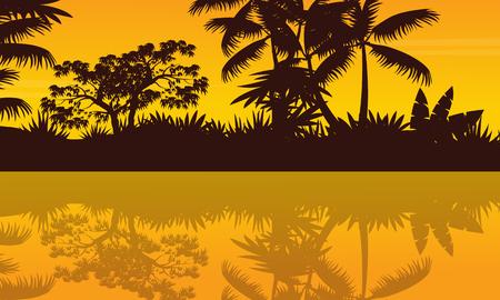River scenery on jungle scenery silhouette vector art