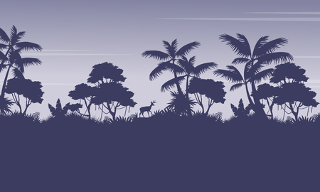 evaporation: Silhouette of jungle with deer scenery