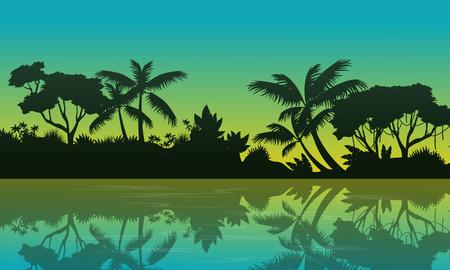 evaporation: Beauty landscape of jungle on green background