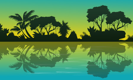 Silhouette of forest with reflection landscape