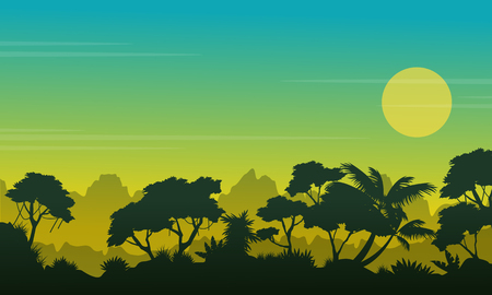 Beauty forest landscape with silhouette style