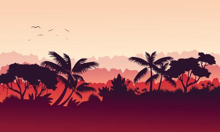 evaporation: Beauty landscape jungle silhouette style