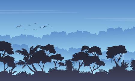 evaporation: Silhouette of rain forest beauty landscape Illustration