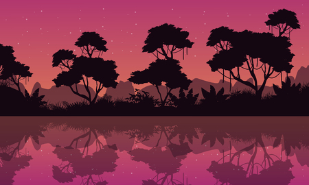 evaporation: Silhouette of jungle with reflection at night Illustration