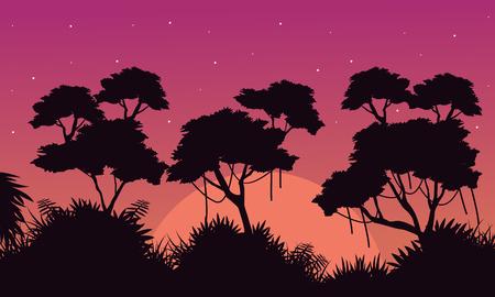 evaporation: Landscape of jungle at sunrise silhouette style Illustration