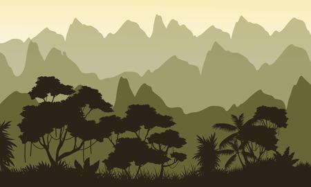 evaporation: Landscape jungle on mountain background silhouette Illustration
