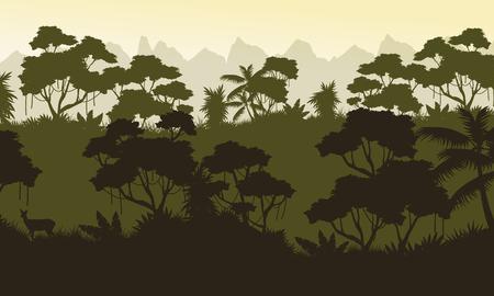 evaporation: Silhouette of jungle rain forest scenery