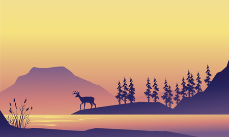 Beauty scenery deer at the sunrise silhouette Illustration
