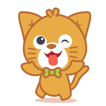 Happy cat style character