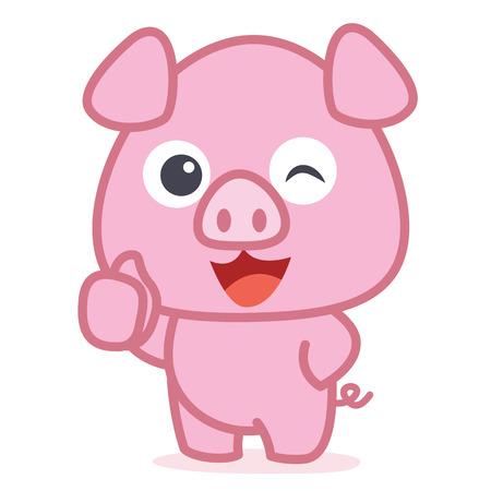 Personnage de dessin animé mignon cochon