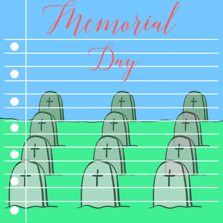 Memroail day style collection greeting card vector art Illustration