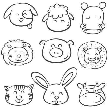 cute bear: Doodle of animal head funny vector illustration