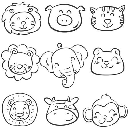 cute bear: Collection of animal head doodle set vector illustration Illustration