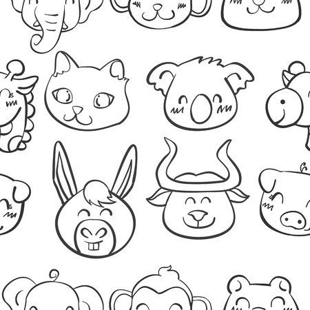 cute bear: Collection stock of head animal doodles vector illustration