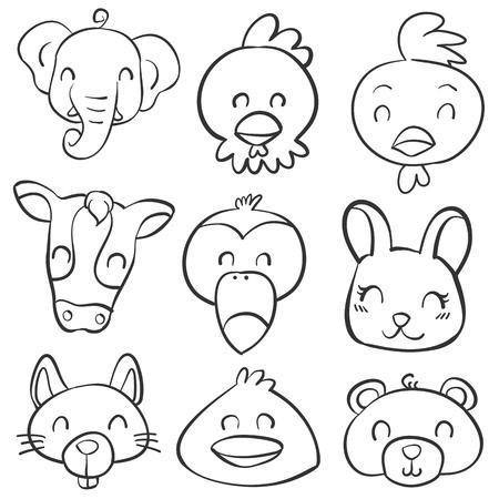 cute bear: Doodle various animal head style vector illustration