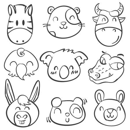 cute bear: Style animal head doodle hand draw