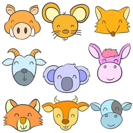 cute bear: Animal head cute funny doodles