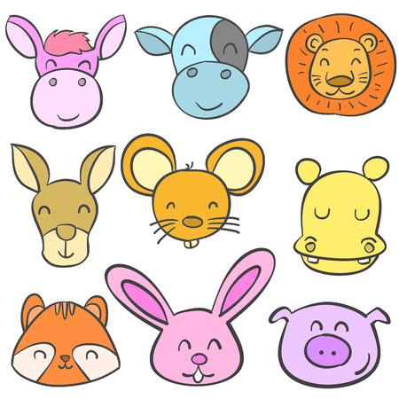 cute bear: Doodle set animal head colorful