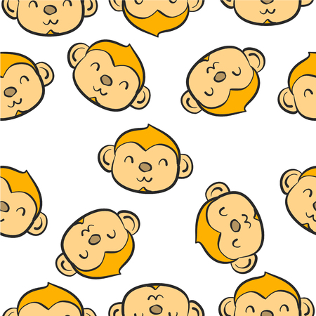 cute bear: Doodle of animal monkey collection