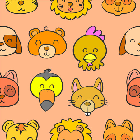 cute bear: Collection animal head doodle style Illustration