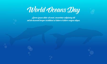 fondo azul del océano del océano del día de la colección plana del vector Ilustración de vector
