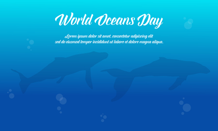 Blue background world ocean day vector flat collection
