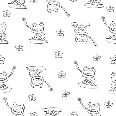 pattern with frog hand draw vector illustration