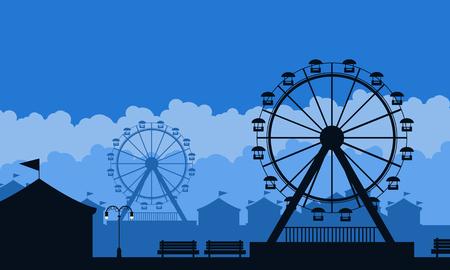 Silhouette of amusement park scenery background illustration Ilustracja