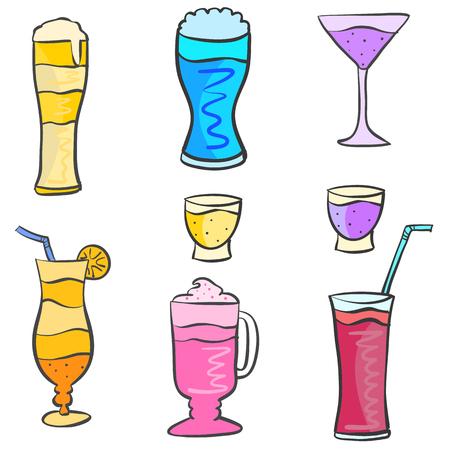 Vector art drink set various doodles Illustration
