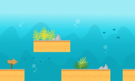 Game background style underwater vector art illustration