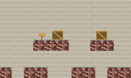 Game background style with wall and box vector art