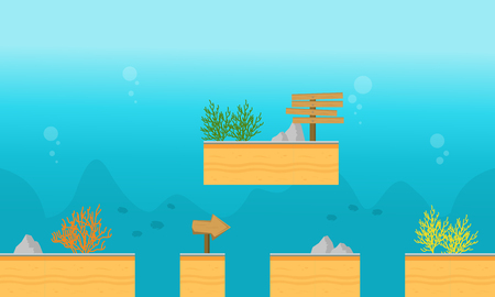 Style background underwater for game vector illustration