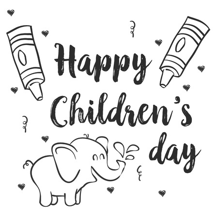 first day: Hand draw children day with elephant Illustration