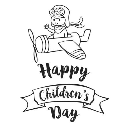 first day: Children day hand draw celebration